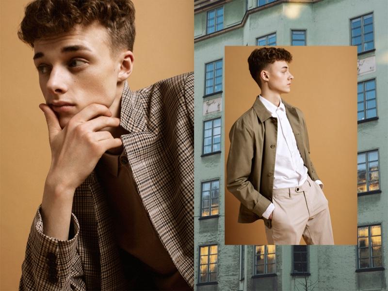 Left: Daniel wears shirt and coat H&M. Right: Daniel wears shirt Filippa K, jacket COS, and pants Oscar Jacobson.