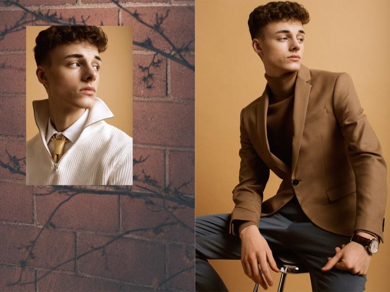 Left: Daniel wears shirt Filippa K and half-zip sweater Zara. Right: Daniel wears turtleneck H&M, blazer Zara, and trousers Filippa K.