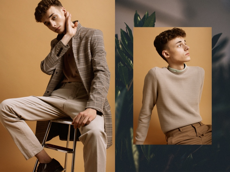 Left: Daniel wears trousers Oscar Jacobson, shoes TGA, shirt and coat H&M. Right: Daniel wears trousers Zara, t-shirt and sweater COS.