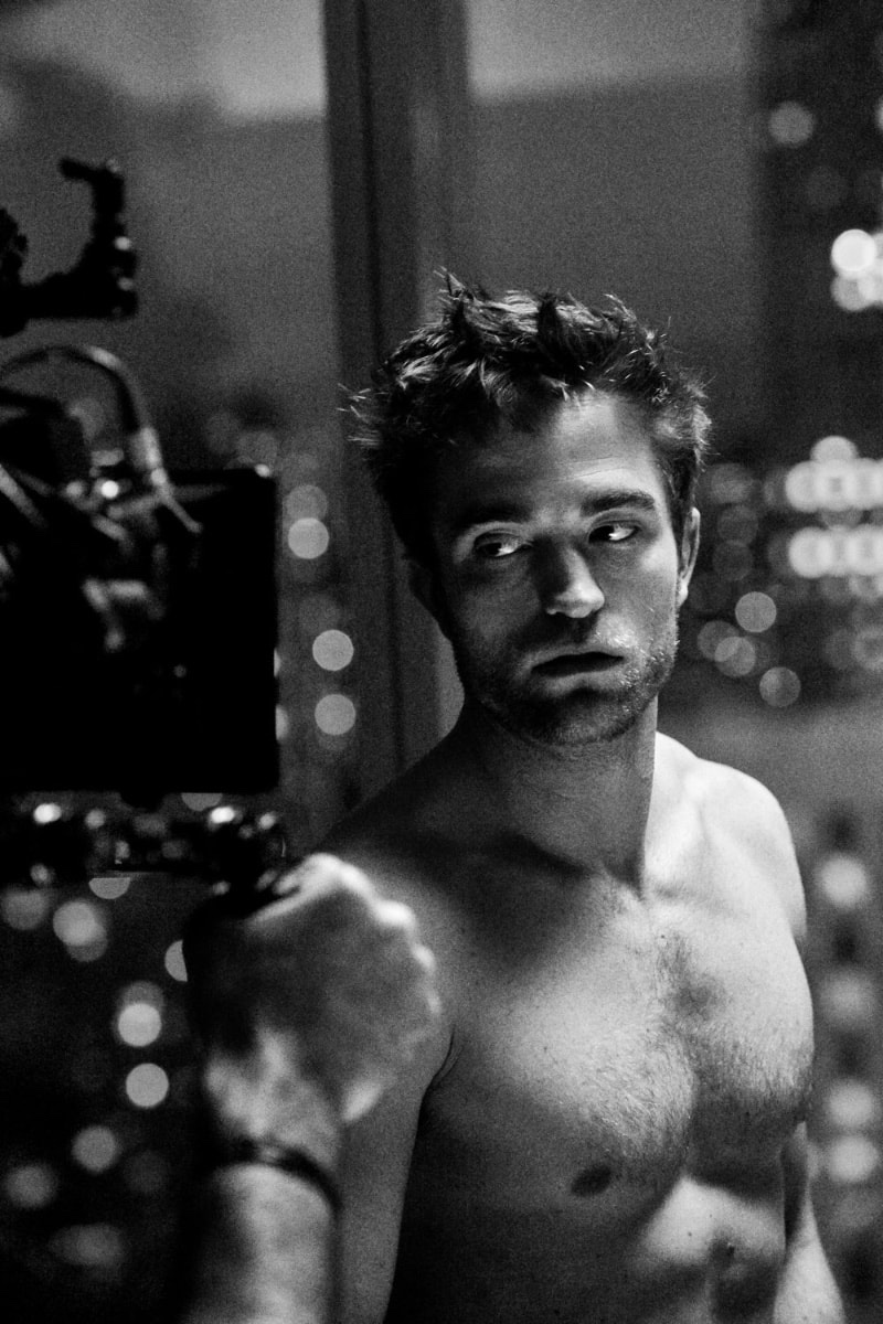 Captured behind the scenes for Dior Homme, Robert Pattinson goes shirtless.