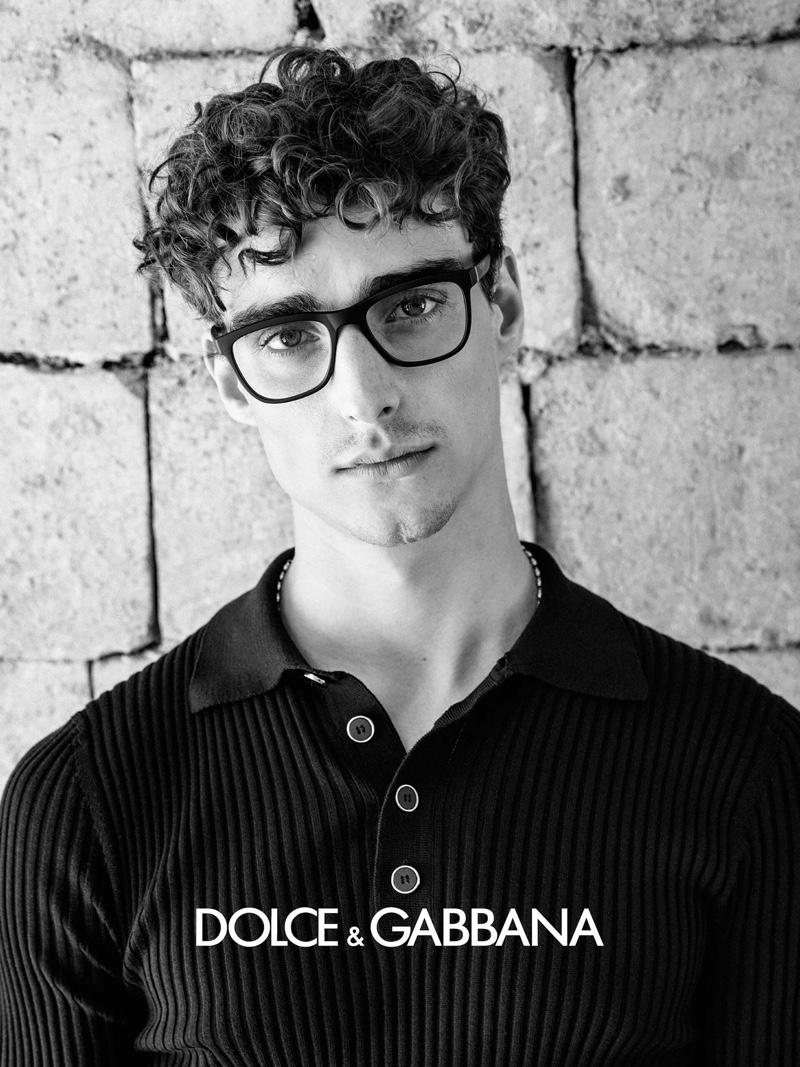 Kane Roberts dons black framed glasses for Dolce & Gabbana's spring-summer 2020 men's eyewear campaign.