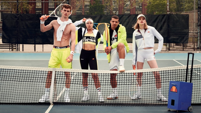 Sporting tennis gear, Kit Butler, Princess Nokia, Raleigh Ritchie, and Stella Lucia star in Ellesse's spring-summer 2020 campaign.