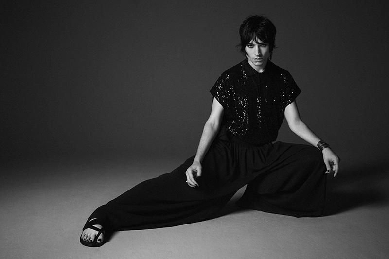 Dressed in black, Ezra Miller stars in Saint Laurent's spring-summer 2020 campaign.