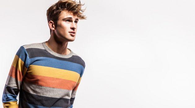 Fashion Male Model Striped Sweater