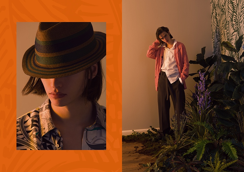 Maël wears chic menswear from Hermès' spring-summer 2020 collection.