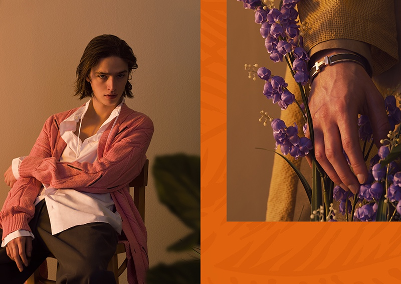Pictured left, Maël sports a cable-knit cardigan sweater with a shirt and trousers from Hermès' spring-summer 2020 collection. Right, he dons a Hermès bracelet.