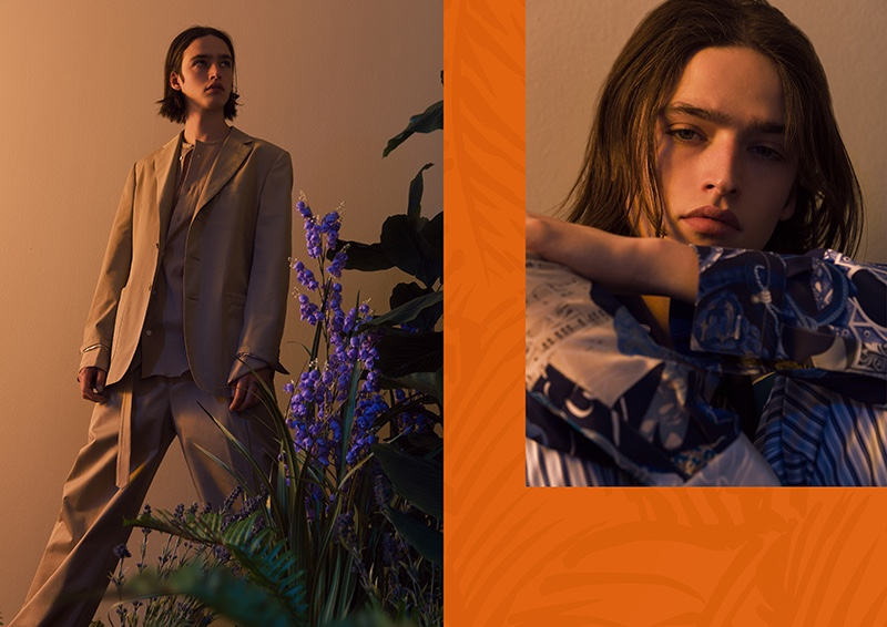 Maël wears relaxed suiting from Hermès, as well as a patterned look from the French label's spring-summer 2020 collection.