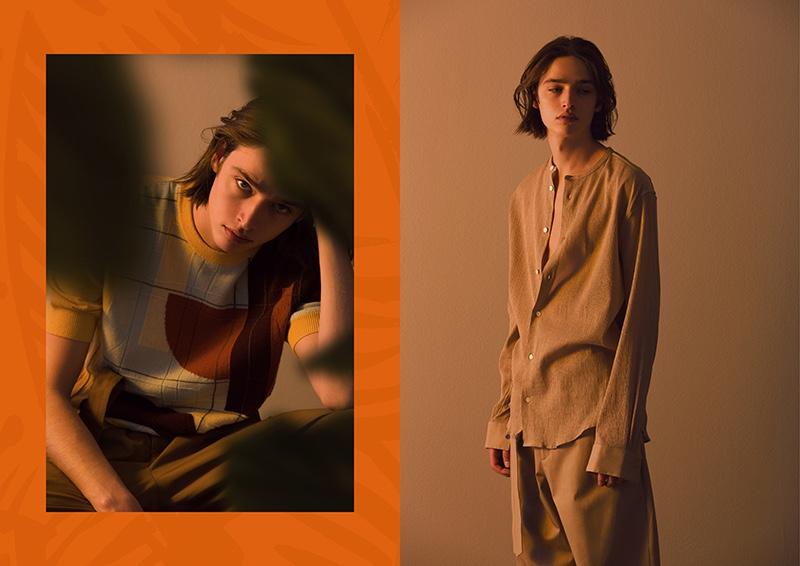 Dennis Weber photographs Maël in sleek looks from Hermès' spring-summer 2020 collection.