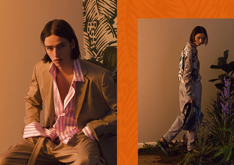 Taking to a warm-lit set, Maël models refined pieces from Hermès' spring-summer 2020 collection.