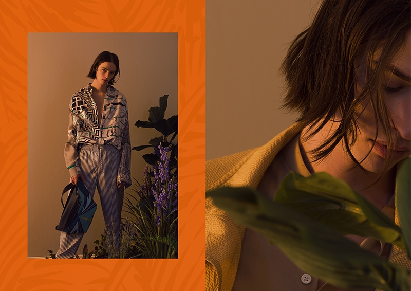 Maël dons spring-summer 2020 fashions from French fashion house Hermès.
