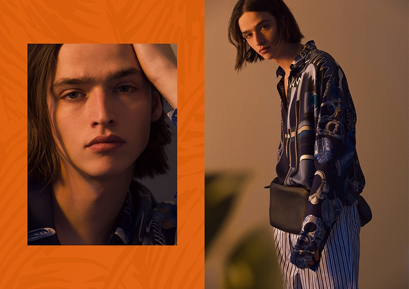 Donning relaxed proportions, Maël wears a spring-summer 2020 look from Hermès.