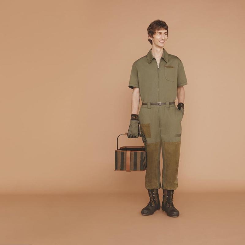 Model Etienne de Testa wears a statement look from Fendi's spring-summer 2020 collection.