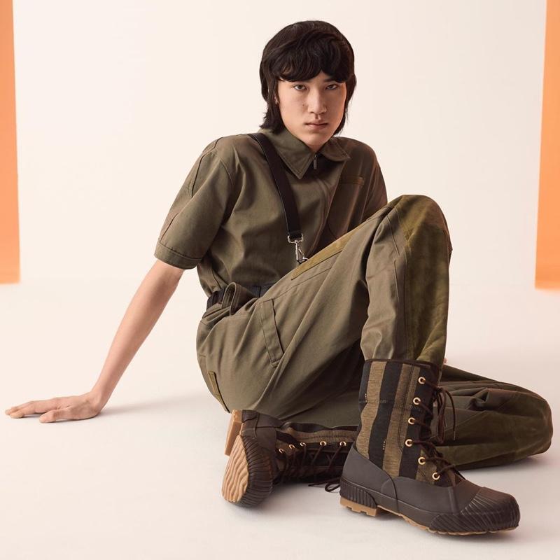 Branko Roegiest rocks boots from Fendi's Moonstar collaboration.