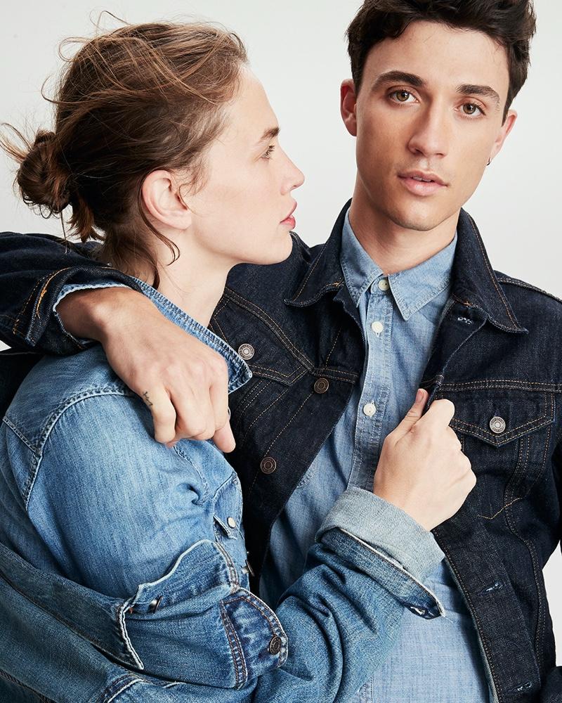 Models Crista Cober and Jacob Bixenman sport the latest denim styles from Gap.