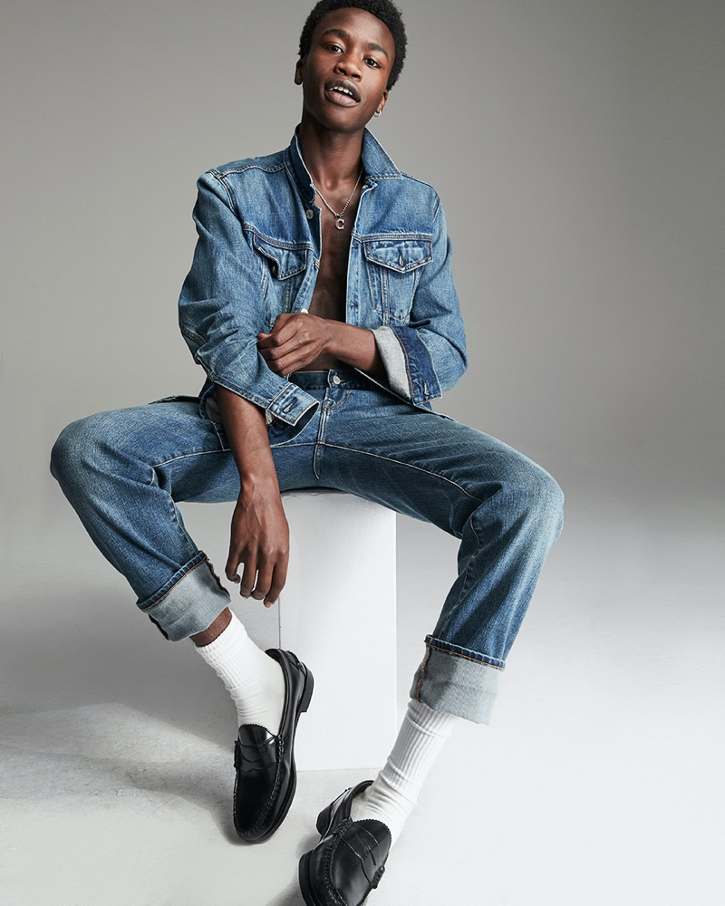 Front and center, Cheikh Tall doubles down on denim from Gap.