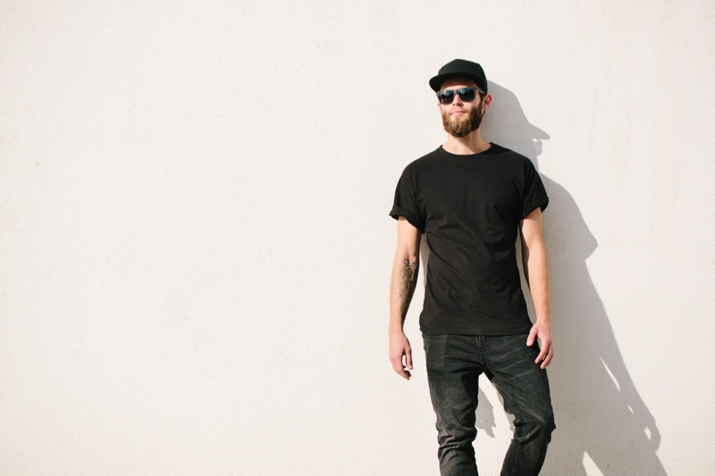 Guy Black Shirt Baseball Cap Jeans