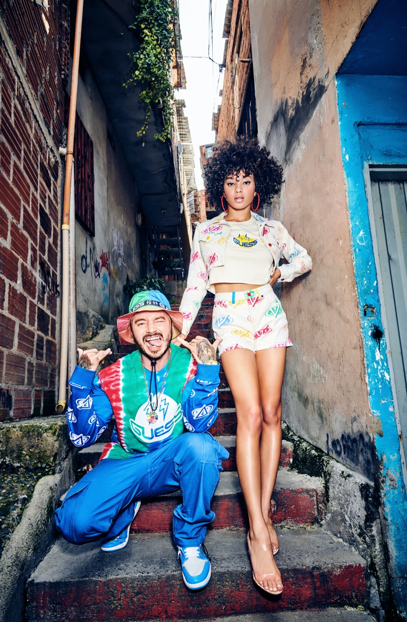 J Balvin joins model Jamea Byrd for GUESS' spring-summer 2020 campaign.