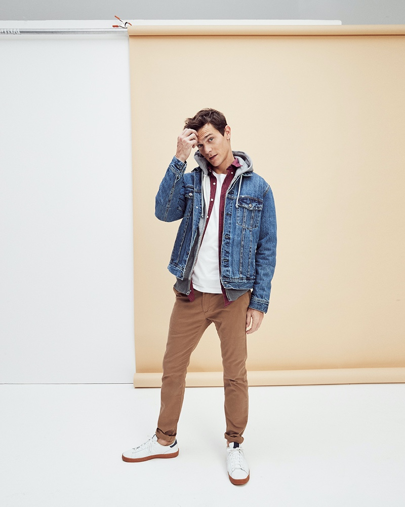 French model Vincent LaCrocq inspires in a layered look from J.Crew.
