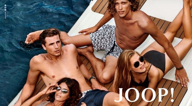 Rocking swimwear, Sarah Q., Edward Wilding, Umberto Villahermosa, and Kim Riekenberg appear in JOOP! Jeans' spring-summer 2020 campaign.