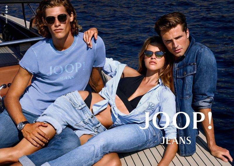 Embracing shades of blue, Umberto Villahermosa, Kim Riekenberg, and Edward Wilding front JOOP! Jeans' spring-summer 2020 campaign.
