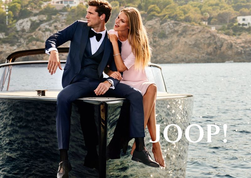 Dressed to impress, Edward Wilding and Kim Riekenberg appear in JOOP!'s spring-summer 2020 campaign.