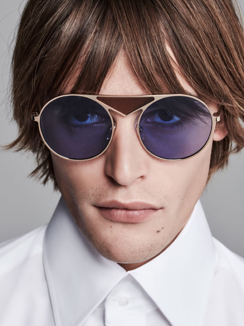 Front and center, Parker van Noord rocks stylish sunglasses from Karl Lagerfeld.