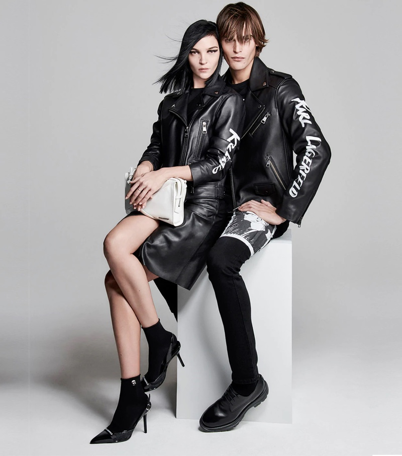 Mariacarla Boscono and Parker van Noord star in Karl Lagerfeld's spring-summer 2020 campaign.