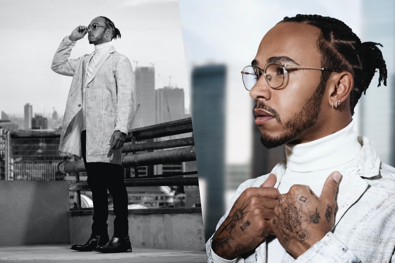 Donning optical frames, Lewis Hamilton appears in the campaign for his Police eyewear collaboration.