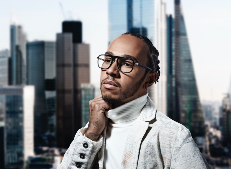 Rankin photographs Lewis Hamilton for the racing driver's Police eyewear campaign.