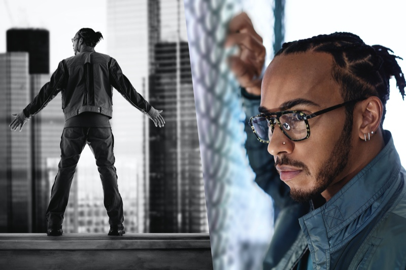 Racing car driver Lewis Hamilton collaborates with Police eyewear and stars in a new campaign.