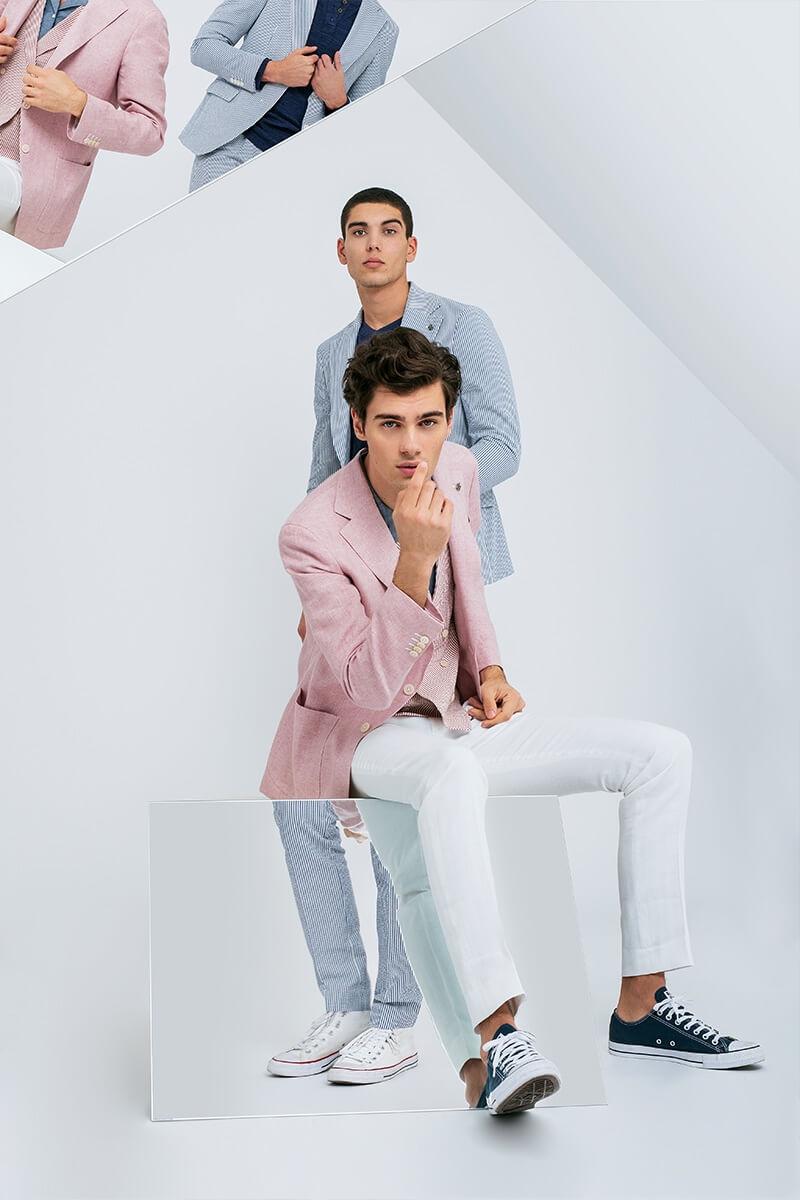 Models Alexandru Gorincioi and Samuele Urbani embrace pastel hues for Lubiam's spring-summer 2020 campaign.