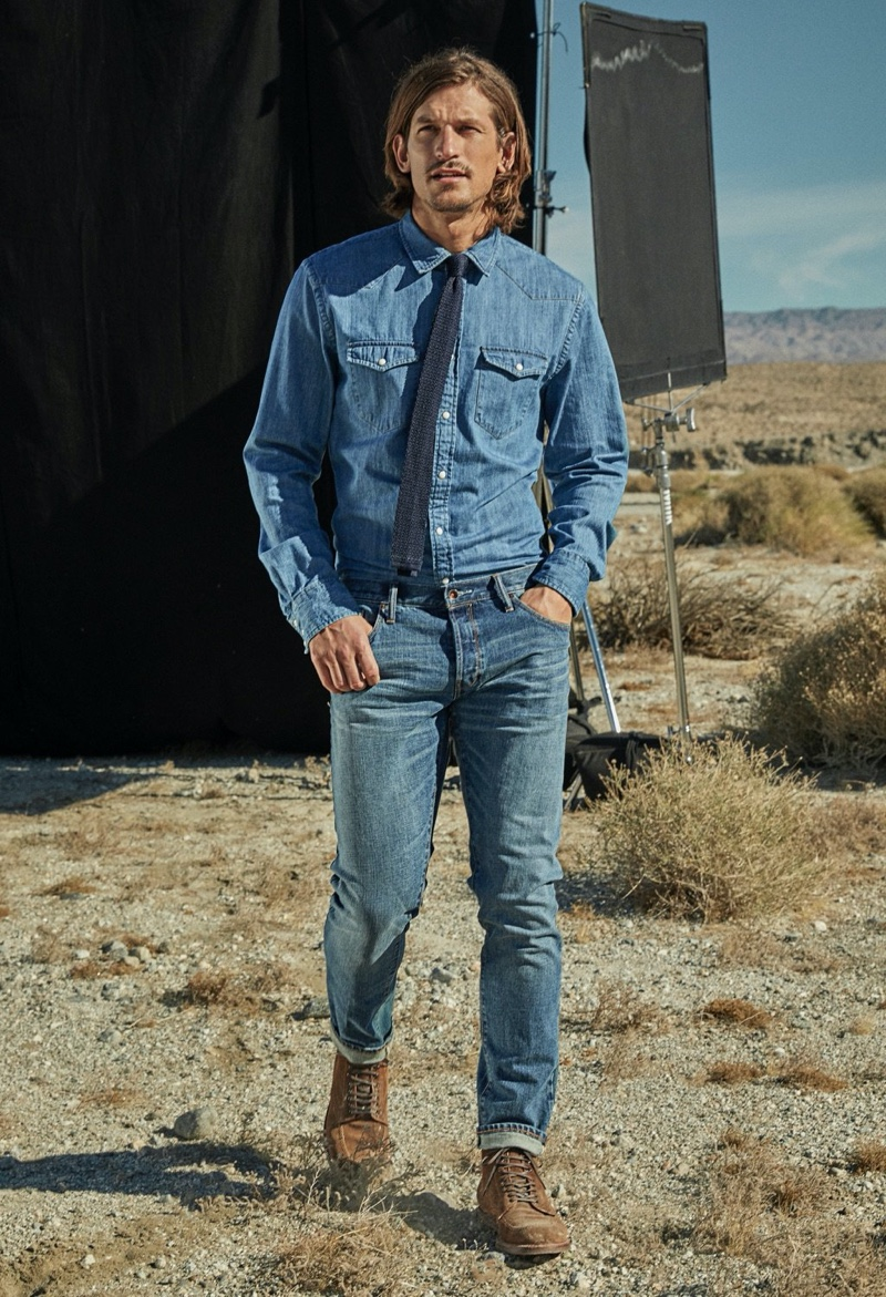 Doubling down on denim, Jarrod Scott dons a western shirt with Japanese stretch selvedge jeans.