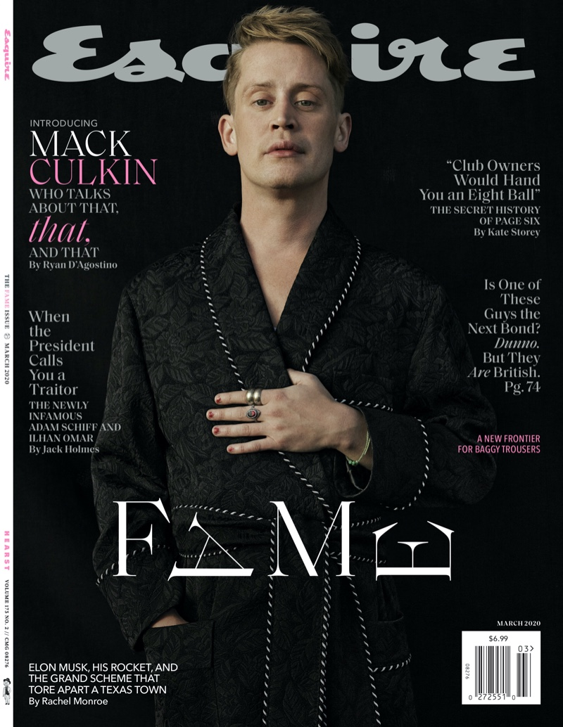Rocking red nail polish, Macaulay Culkin covers the March 2020 issue of Esquire magazine.
