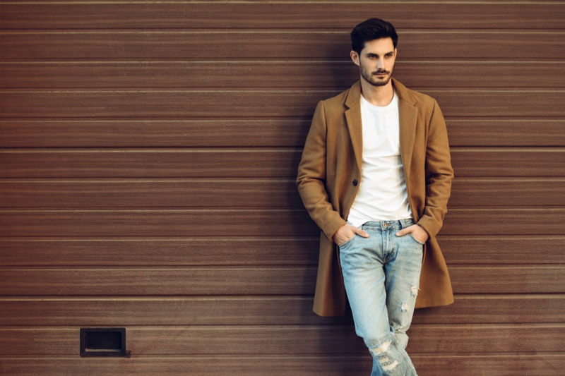 Male Model Brown Coat White Tee Distressed Jeans