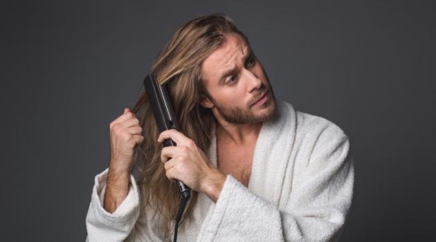 Male Model Long Hair Flat Iron