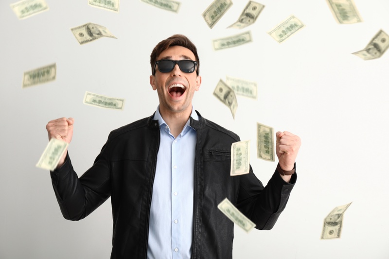 Man Falling Money Excited Sunglasses