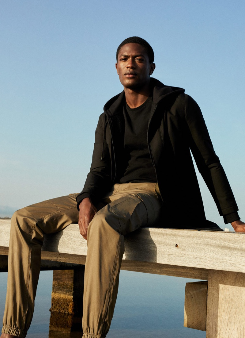 Hamid Onifade dons a smart-casual spring look from Mango.