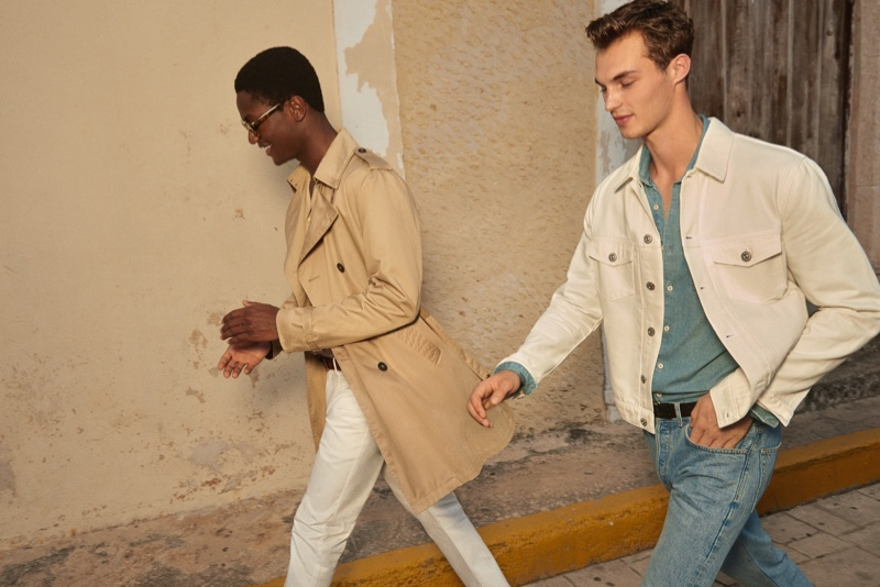 Models Hamid Onifade and Kit Butler come together for Mango's spring-summer 2020 campaign.