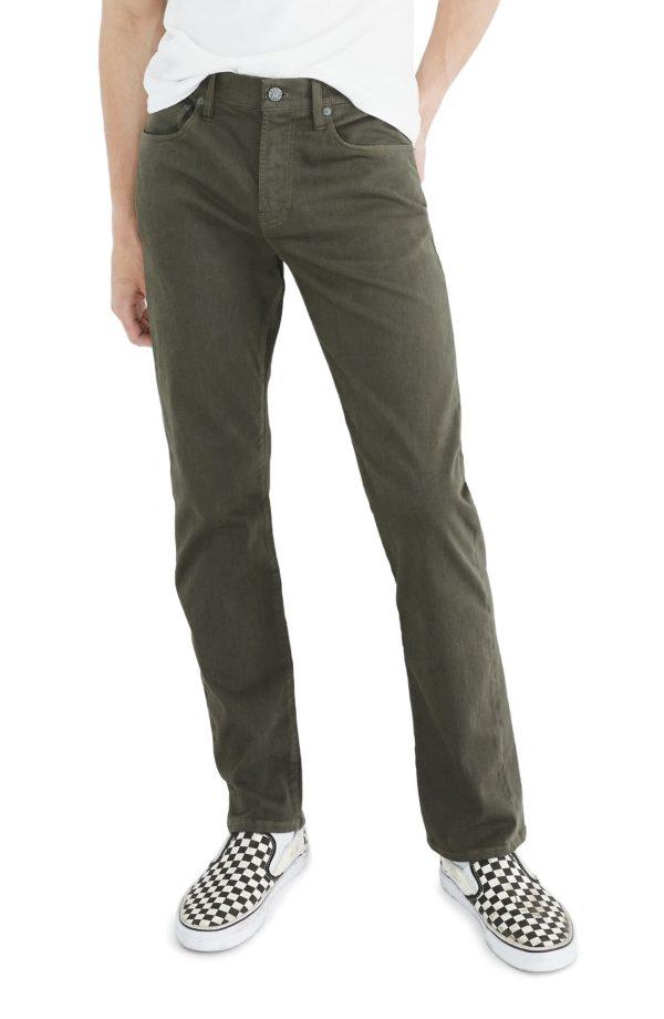 Men's Madewell Sateen Slim Jeans, Size 30 x 32 - Green