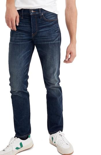 Men's Madewell Slim Straight Leg Jeans, Size 28 x 32 - Blue