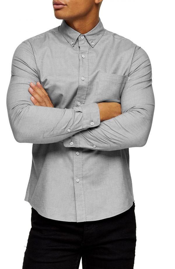 Men's Topman Button-Down Oxford Shirt, Size Large - Grey