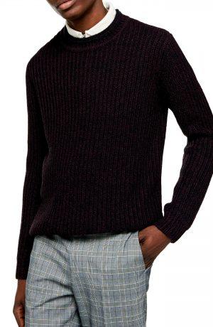 Men's Topman Chunky Crewneck Sweater, Size Large - Burgundy