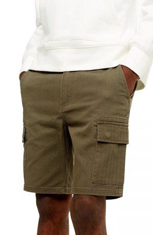 Men's Topman Classic Cargo Shorts, Size 28 - Green