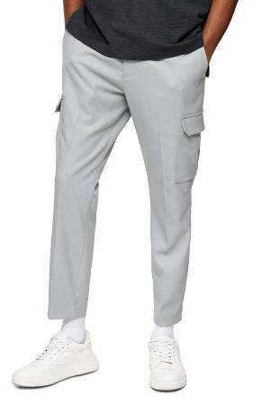 Men's Topman Classic Fit Crop Twill Cargo Pants, Size 28 x 32 - Grey