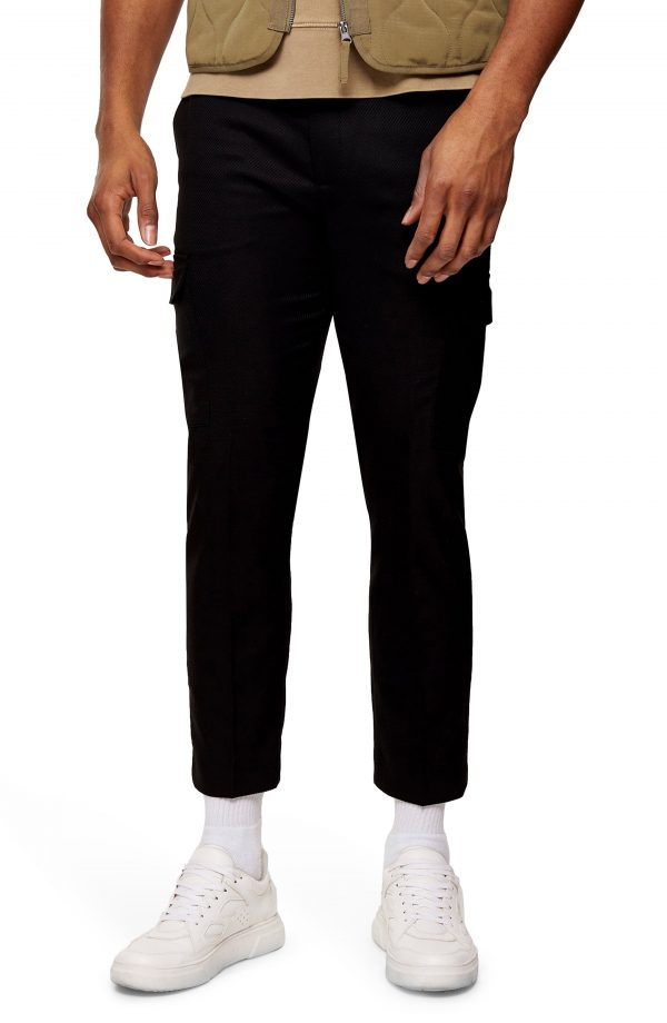 Men's Topman Classic Fit Crop Twill Cargo Pants, Size 34 x 30 - Black
