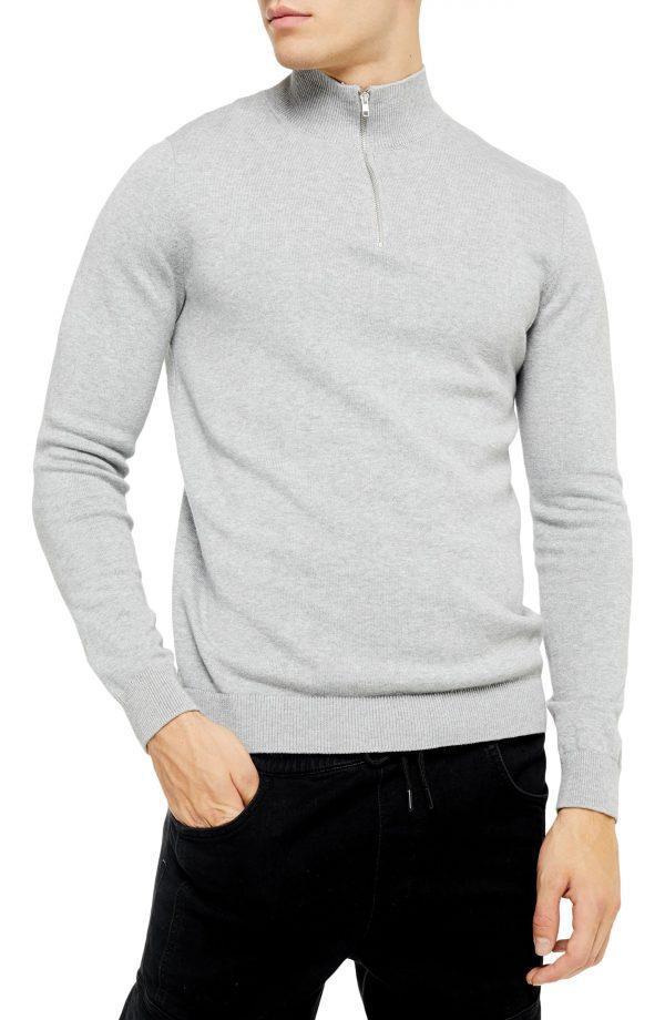Men's Topman Classic Fit Quarter-Zip Mock Neck Sweater, Size Large - Grey