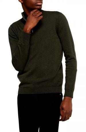 Men's Topman Classic Fit Quarter-Zip Mock Neck Sweater, Size Medium - Green