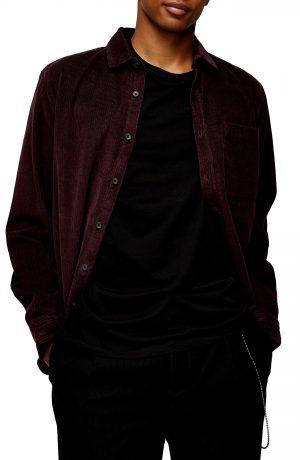 Men's Topman Corduroy Button-Up Shirt, Size Small - Burgundy
