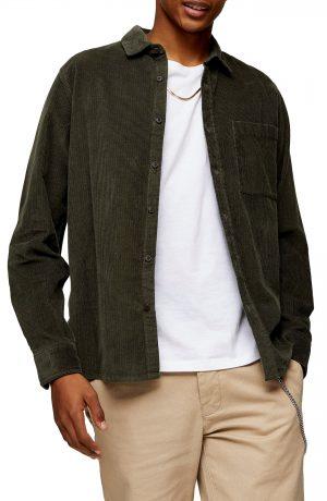 Men's Topman Corduroy Button-Up Shirt, Size X-Large - Green
