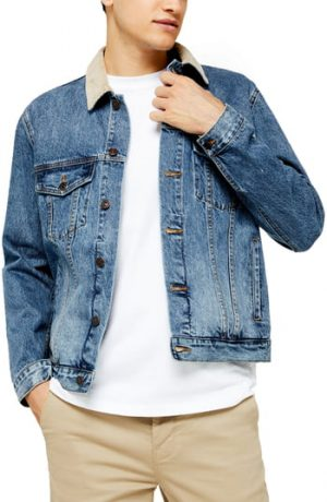 Men's Topman Corduroy Collar Classic Fit Denim Jacket, Size Small - Blue